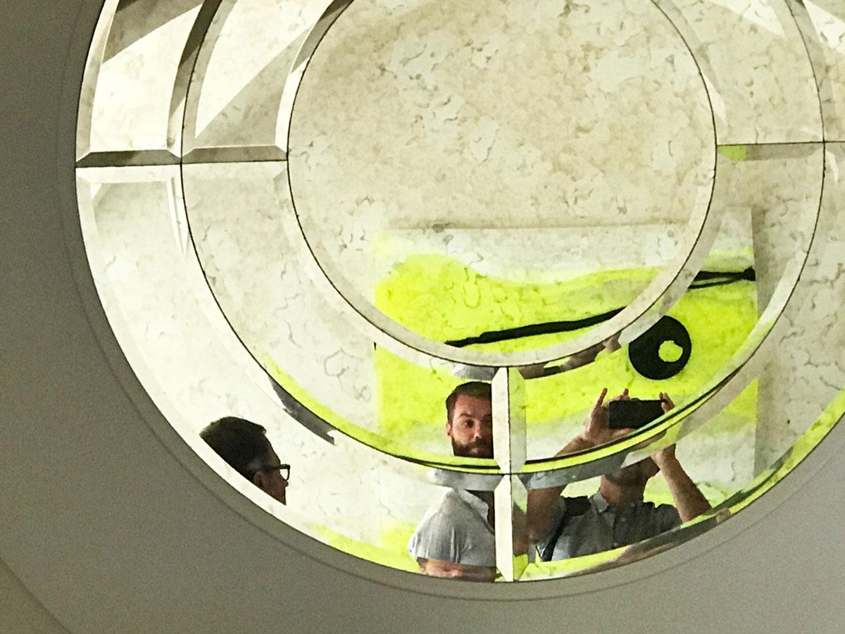 Christian Jenssen admiring the reflection of Radiant Dusk I.