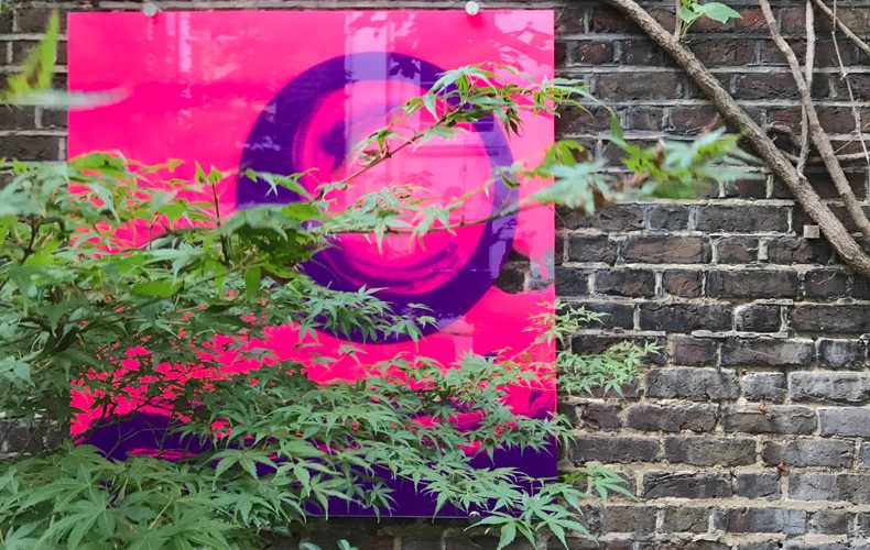 contemporary glass art Radiant Dusk II installed